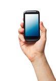 Telefone de pilha na mão masculina Fotos de Stock