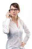 Telefone de pilha novo da terra arrendada da mulher de negócio Fotos de Stock Royalty Free