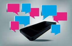 Telefone de Smarth com bolhas do texto ilustração stock