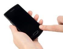 Telefone de tela moderno do toque fotografia de stock