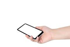 Telefone de tela vazia à disposição no fundo Imagens de Stock Royalty Free