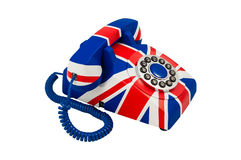 Telefone de Union Jack com o teste padrão da bandeira britânica isolado no fundo branco Close up do telefone Imagem de Stock Royalty Free