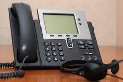 Telefone do IP com auriculares Imagem de Stock Royalty Free