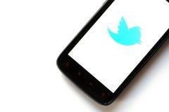Telefone do Twitter Imagens de Stock Royalty Free
