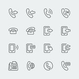 Telefone do vetor e ícones de uma comunicação mini Imagem de Stock
