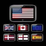 Telefone e bandeira Fotografia de Stock Royalty Free