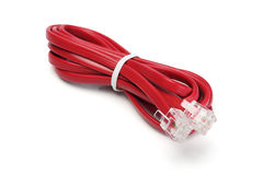 Telefone e cabo e conectores do modem Imagem de Stock Royalty Free