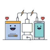 Telefone e carregador Imagens de Stock
