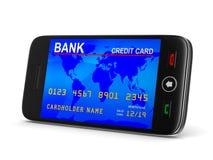 Telefone e cartão de crédito no fundo branco 3D isolado Foto de Stock Royalty Free