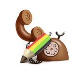 Telefone e lápis velhos Foto de Stock Royalty Free