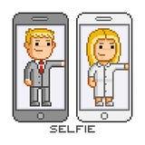 Telefone e selfie da arte do pixel Fotos de Stock