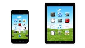 Telefone e tabuleta digitais modernos na rendição branca do fundo 3D Fotos de Stock Royalty Free