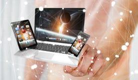Telefone e tabuleta tocantes do portátil do homem de negócios com seu dedo 3D Foto de Stock Royalty Free