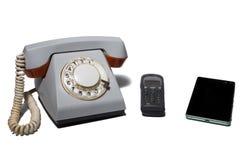 Telefone em um fundo branco Foto de Stock Royalty Free