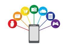 Telefone esperto com ícones das aplicações, vetor ilustração stock