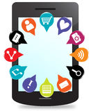Telefone esperto com ícones do pino do mapa 3d das aplicações Imagem de Stock Royalty Free
