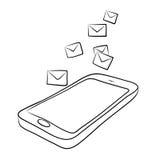 Telefone esperto com envelopes ou email Fotografia de Stock