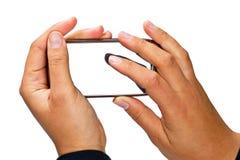 Telefone esperto com indicador em branco Imagens de Stock Royalty Free