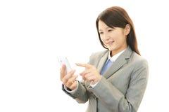 Telefone esperto com mulher Imagens de Stock