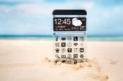 Telefone esperto com uma exposição transparente Imagens de Stock Royalty Free