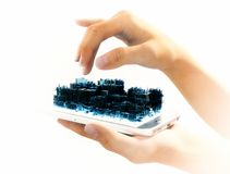Telefone esperto da cidade virtual isolado Foto de Stock