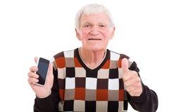 Telefone esperto do homem superior imagem de stock