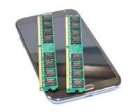Telefone esperto e memória fotografia de stock