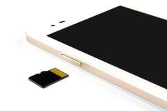 Telefone esperto e micro cartão do sd Fotografia de Stock