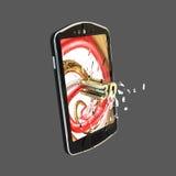 Telefone esperto móvel com a tela de vidro causada um crash Fotos de Stock