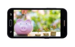 Telefone esperto móvel vazio isolado no fundo branco com clipp imagens de stock royalty free