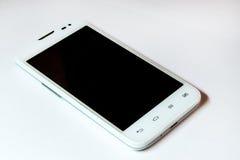 Telefone esperto moderno na cor branca Isolado Foto de Stock