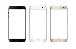 Telefone esperto moderno na cor três Tela branca isolada para o modelo foto de stock royalty free