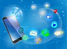 Telefone esperto preto com ícones Imagem de Stock
