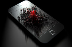 Telefone esperto que emana a infecção Fotos de Stock