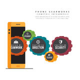 Telefone Gearworks Infographic Foto de Stock Royalty Free