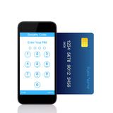Telefone isolado do toque com os botões para o código do pino na tela Fotografia de Stock