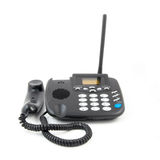 Telefone isolado no branco Telefone moderno, foto detalhada elevada Corpuse preto Fotos de Stock Royalty Free
