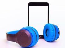 Telefone móvel com auscultadores Foto de Stock