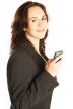 Telefone móvel de sorriso da preensão da mulher Imagem de Stock