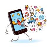 Telefone móvel dos desenhos animados Foto de Stock