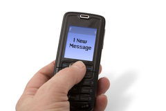 Telefone móvel - mensagem nova Foto de Stock Royalty Free