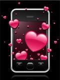 Telefone móvel moderno com os corações que saem ilustração stock