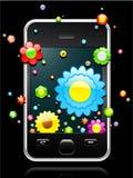 Telefone móvel moderno com vinda das flores ilustração stock