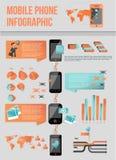 Telefone móvel moderno infographic Imagens de Stock