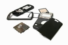 Telefone móvel nas peças Imagens de Stock