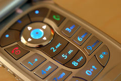 Telefone móvel, teclado iluminado Imagem de Stock Royalty Free