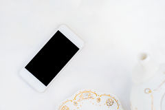 Telefone moderno denominado do desktop branco Fotografia de Stock Royalty Free