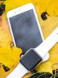Telefone moderno e um relógio Fotografia de Stock Royalty Free