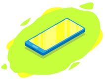 Telefone moderno isométrico Zombaria acima do móbil ilustração royalty free