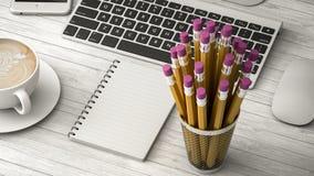 Telefone na ilustração da tabela, do café e do caderno 3d Imagem de Stock Royalty Free